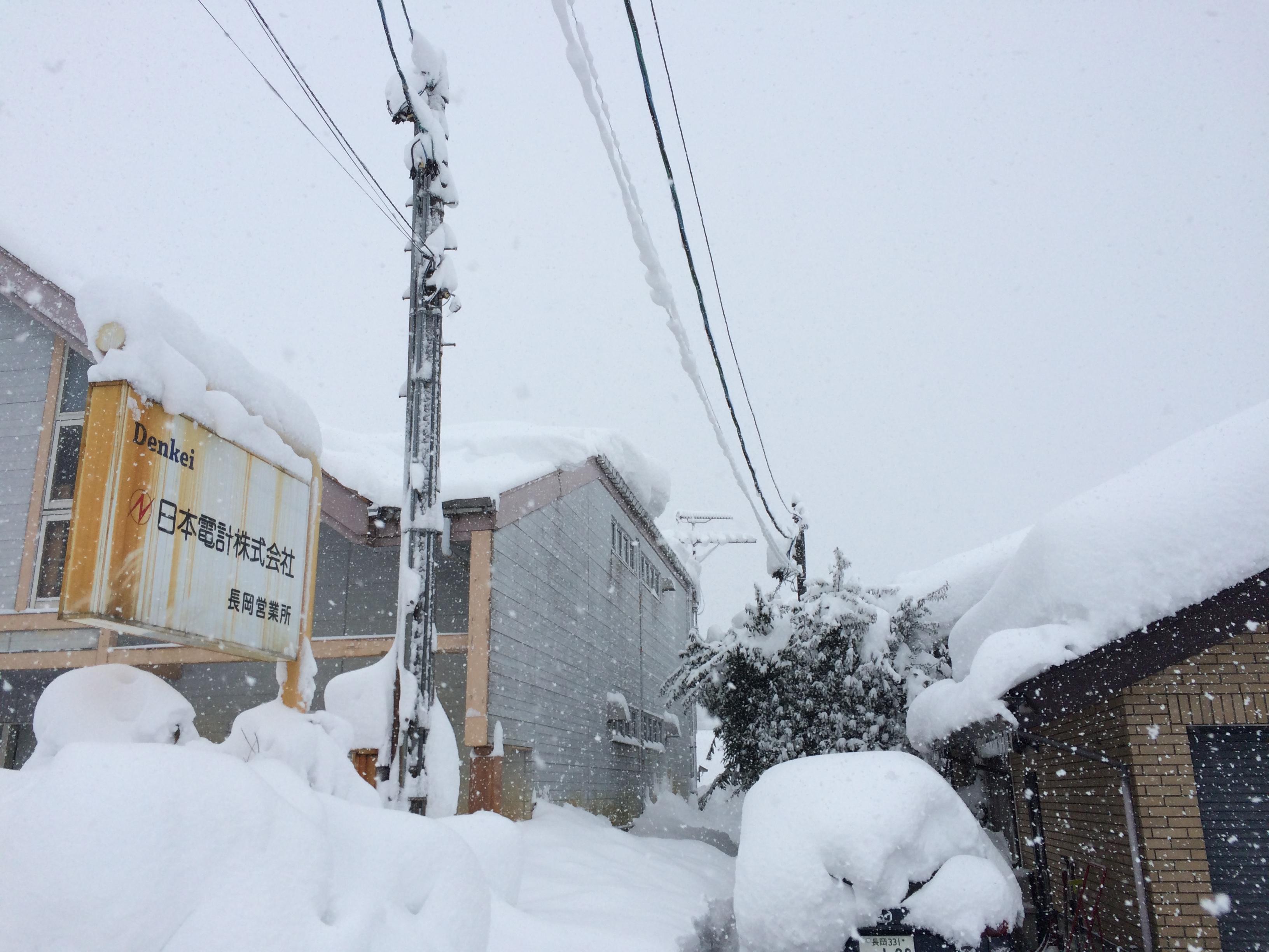 豪雪の朝。全員総出で雪かき。長岡市美沢4丁目。98